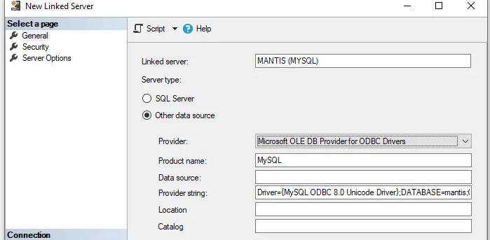 Sql Server e MySql - Creare linked server senza Data Source