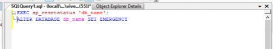 Database in modalità suspect - Impostare modalità emergenza