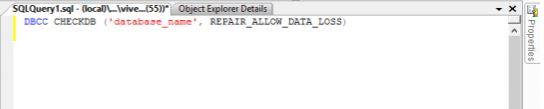 Database in modalità suspect - REPAIR_ALLOW_DATA_LOSS