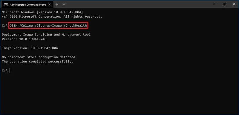 Ripristino Windows-10 - Comando Dism CheckHealth